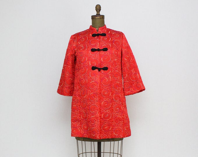 Vintage 1960s Red Kimono Jacket by Judy Gail