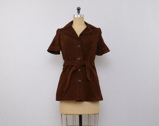 Vintage 1970s Brown Suede Jacket - Size Medium