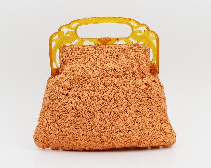 1930s Coral Crochet Handbag - Vintage 30s Bohemian Bakelite Handle Purse