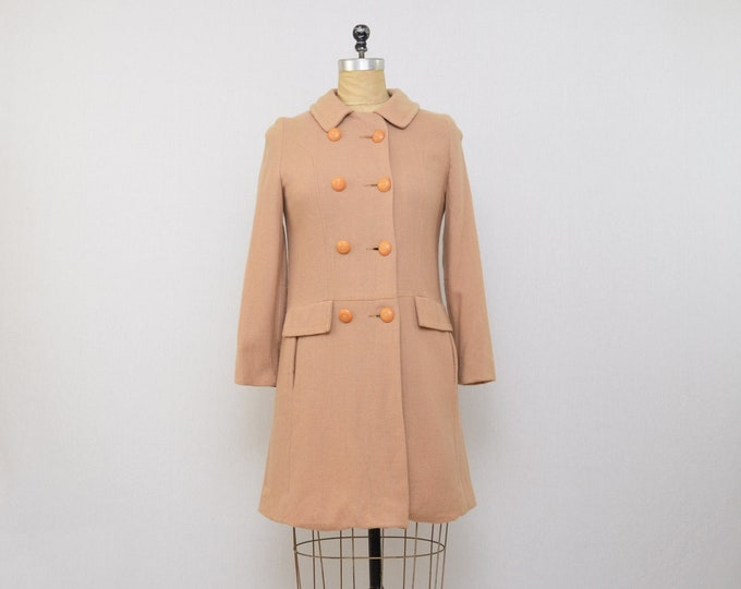 Vintag 1960s Lightweight Wool Union Label Coat - Size Small