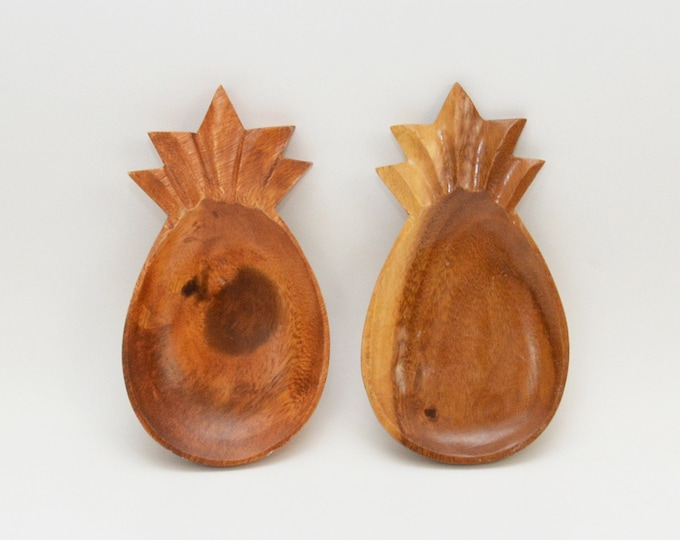 Vintage 1970s Wooden Pineapple Trays - Set of 2