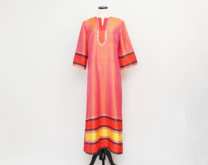 60s Orange Silk Caftan - Vintage 1960s Boho Festival Kaftan Maxi Dress