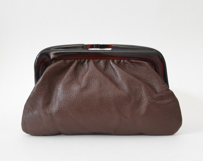 Vintage Brown Italian Leather Clutch - 1970s