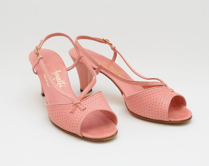 Vintage 1950s Pink Strap High Heels by Amalfi - Size 7 Made in Italy