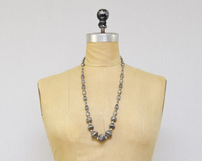 Vintage 1970s Napier Silver Beaded Necklace