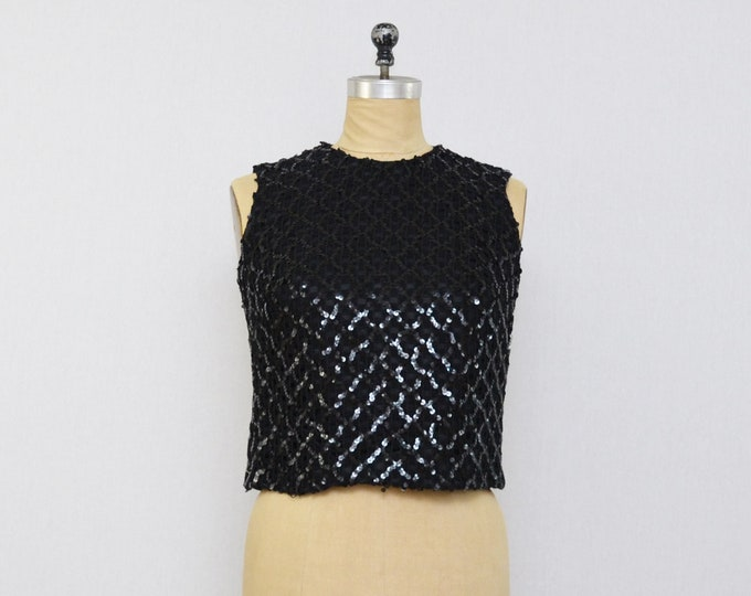 Vintage 1950s Black Sequin Top - Size Small