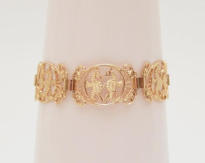 Vintage Gold Seahorse Bracelet - 1970s