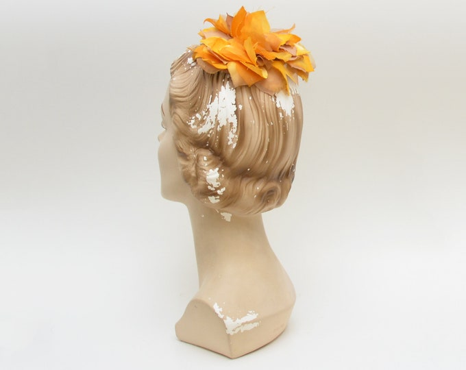Vintage 1960s Yellow Silk Flower Fascinator Hat