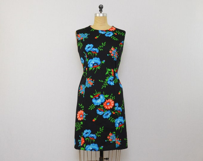 Vintage 1960s Black Floral Print Sheath Dress - Size Medium