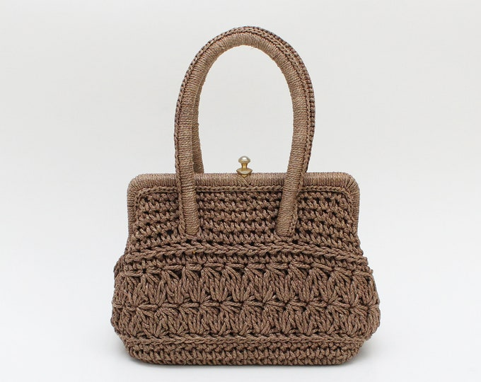 Vintage 1950s Structured Crochet Handbag
