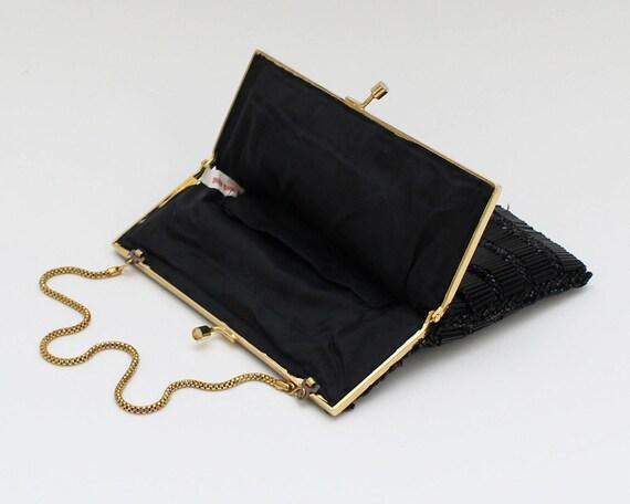 60s Black Beaded Evening Bag - Vintage 1960s Bead… - image 8