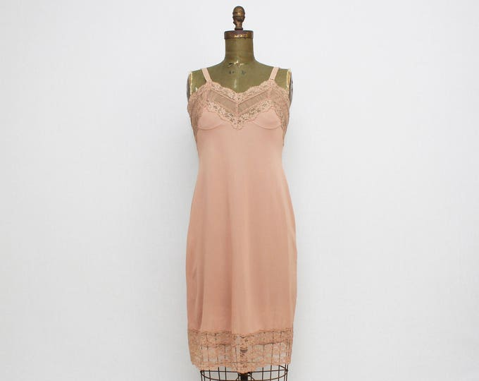 Vintage 1960s Harvey Woods Dark Beige Slip - Size Medium