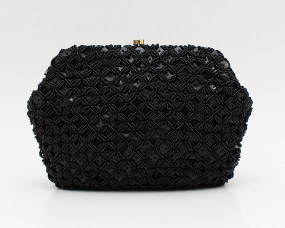 Black Beaded Sequin Clutch - Vintage 1960s Black C