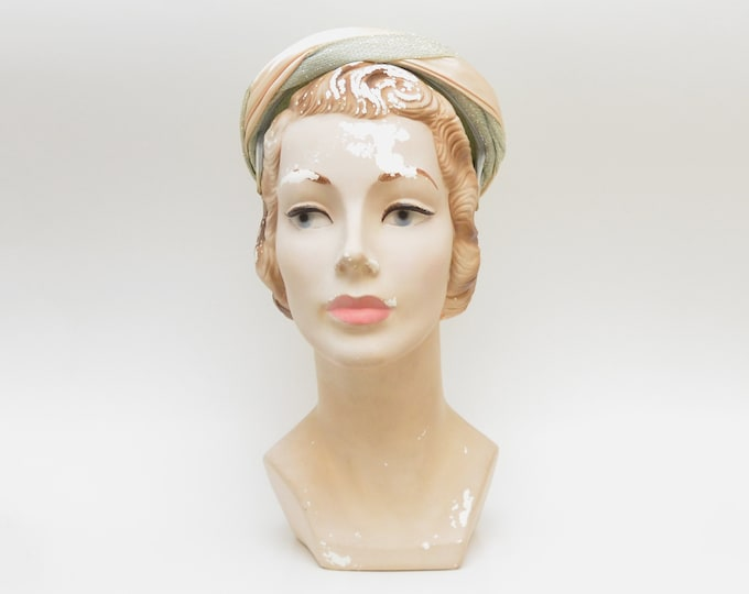 Vintage 1950s Pale Green and Ivory Pillbox Hat