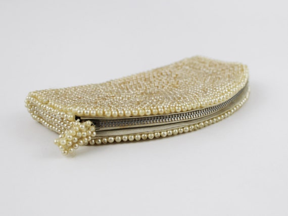 30s Beaded Purse - Ivory and Silver Beaded Clutch… - image 4
