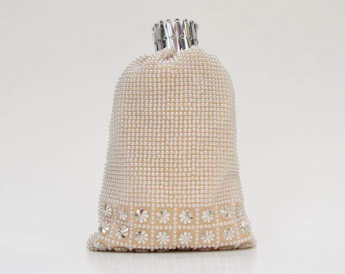 Vintage 1960s Silver and Cream Beaded Pouch Bag - Made in Hong Kong