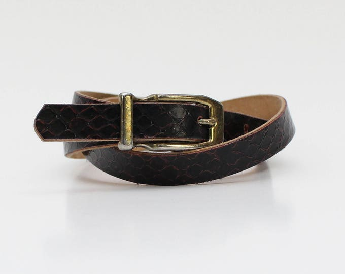 Vintage 1980s Brown Reptile Skinny Belt - 32 Inches