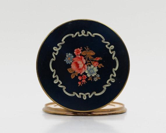 Blue Floral Compact Mirror - Vintage 1950s Pocket