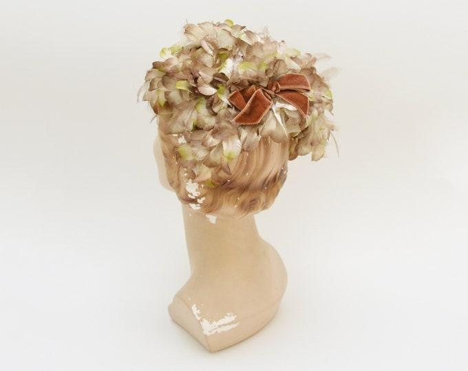 Vintage 1950s Champagne Silk Flower Hat