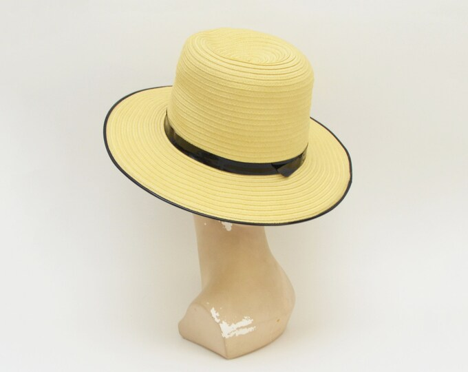 Vintage 1950s Black and Tan Panama Hat by Jerry Yates
