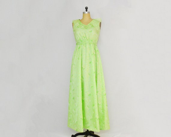 Green Floral Print Maxi Dress - Size Small Vintage