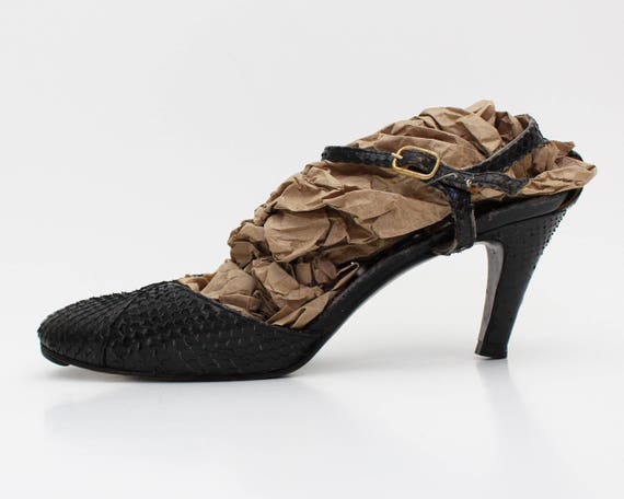 Black Snakeskin Mary Jane Pumps - 40s Size 6 Repti