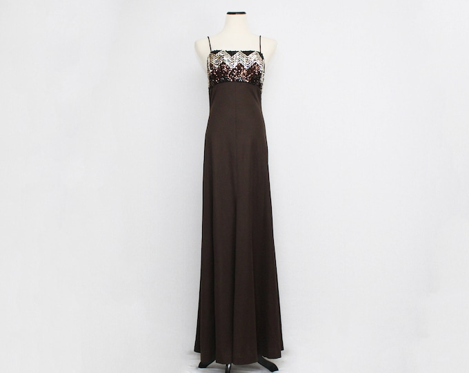 Vintage 1970s Brown Sequin Disco Maxi Dress - Size Small