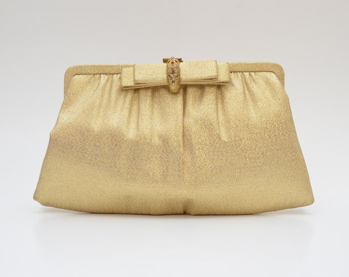 Vintage 1950s Gold Bow Bridal Clutch