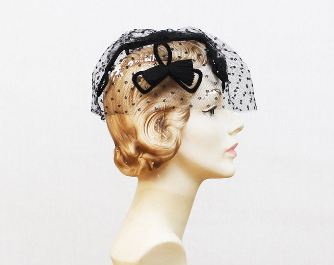 Black 50s Cocktail Hat - Fascinator Hat - Black Bow Veil Hat - Vintage 1950s Black Cage Hat