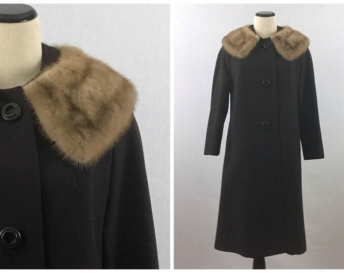 Brown Wool Coat - 60s Fur Collar Jacket - 1960s Single Breasted Ladies Winter Coat