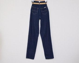 80s Gap Tres Jolie Dark Wash Denim - Vintage 1980s Deadstock Belted High-Waist Blue Jeans