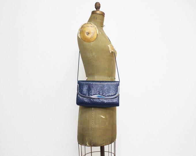 Navy Metallic Mesh Handbag - Vintage 1980s Dark Blue Chainmail Purse