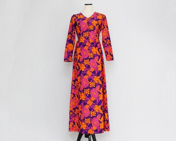 Hawaiian Floral Maxi Dress - Size Medium Vintage 1