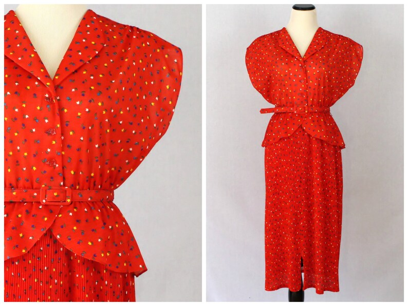 abcde28db67 Red Peplum Dress 70s Novelty Print Belted Secretary Dress