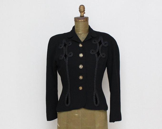 Vintage 1940s Black Military Style Blazer - Size Small
