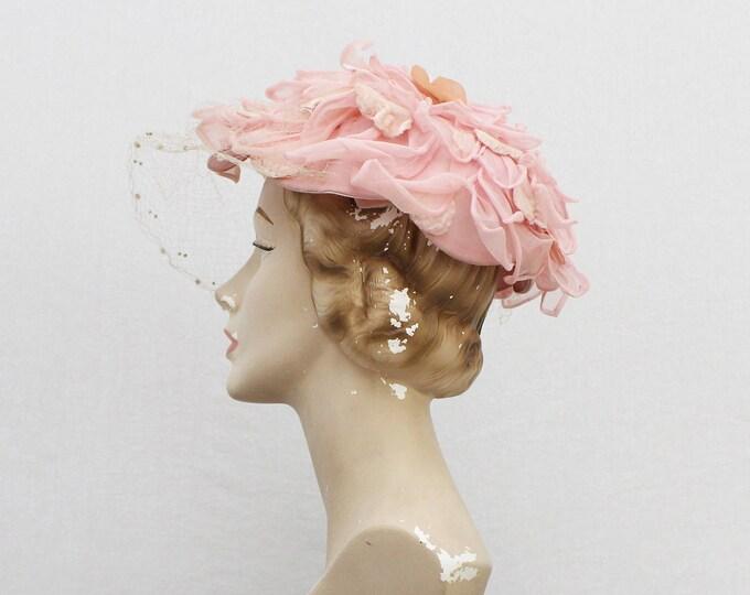 Vintage 1960s Pink Floral Hat - One Size
