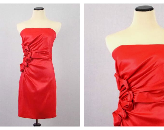 Gunne Sax Coral Cocktail Dress - Size Small Rosette Prom Dress - Vintage 1990s Strapless  Party Dress by Jessica McClintock for Gunne Sax