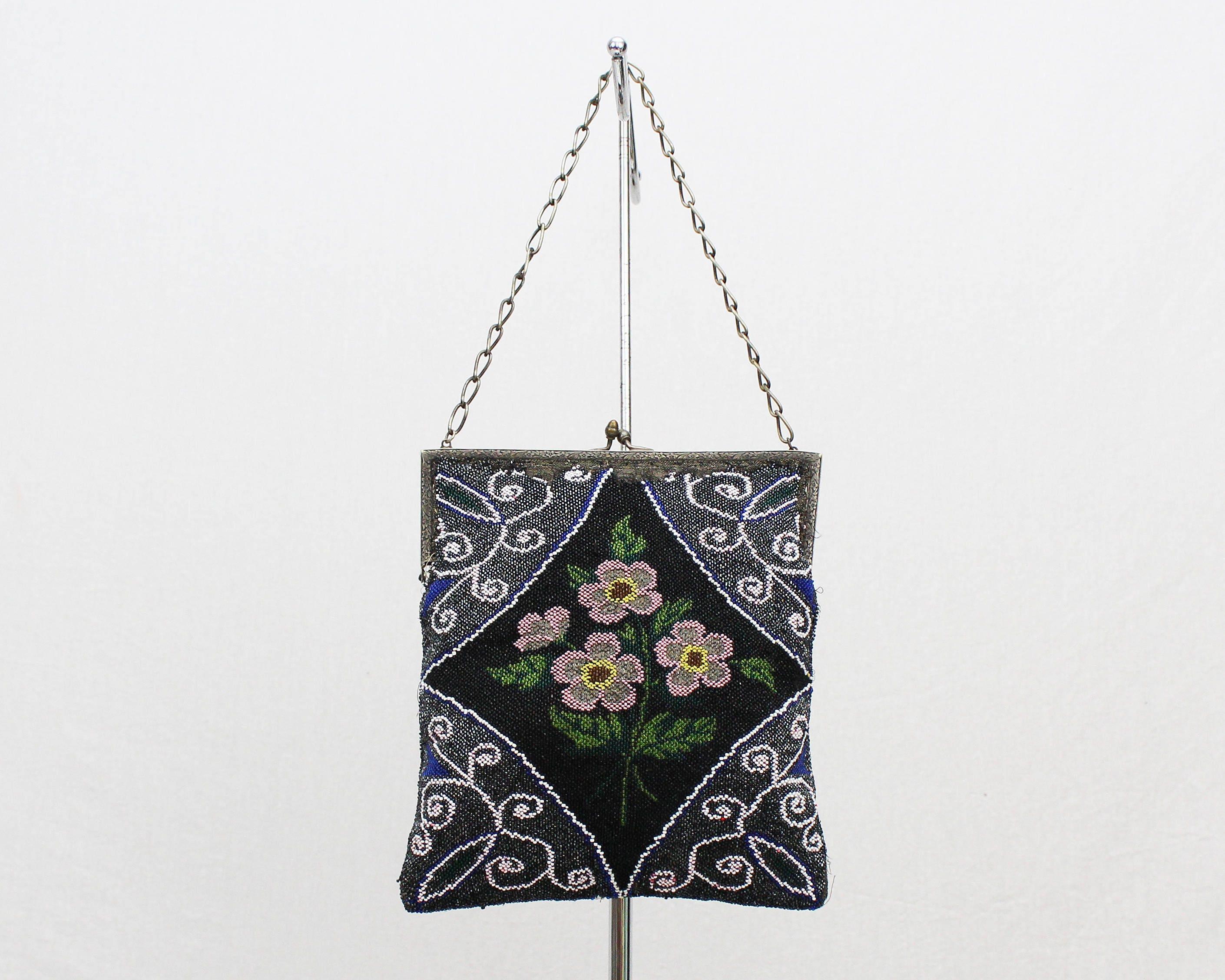 Vintage Glass Beaded Flapper Purse