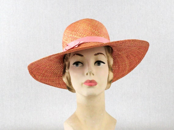 Rose Pink Floppy Hat - Vintage 1980s Pink Bow Sun