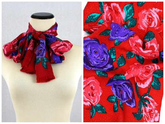 Red Rose Print Scarf - Bill Blass Floral Print Sc… - image 1