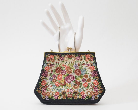 Vintage 1950s Floral Tapestry Evening Bag