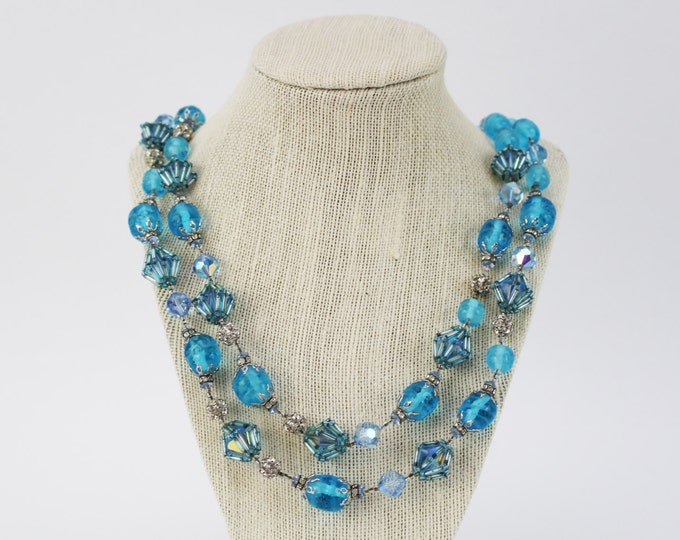 Blue Beaded Multi Strand Necklace - Vintage 1960s Vendome Necklace