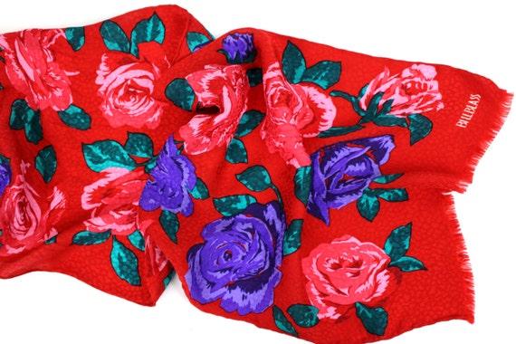 Red Rose Print Scarf - Bill Blass Floral Print Sc… - image 5
