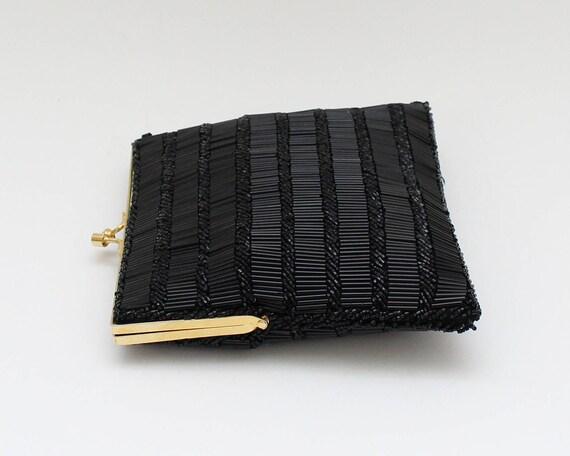 60s Black Beaded Evening Bag - Vintage 1960s Bead… - image 4