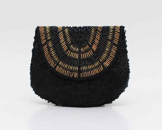 Black and Gold Beaded Clutch - Vintage 1980s Eveni