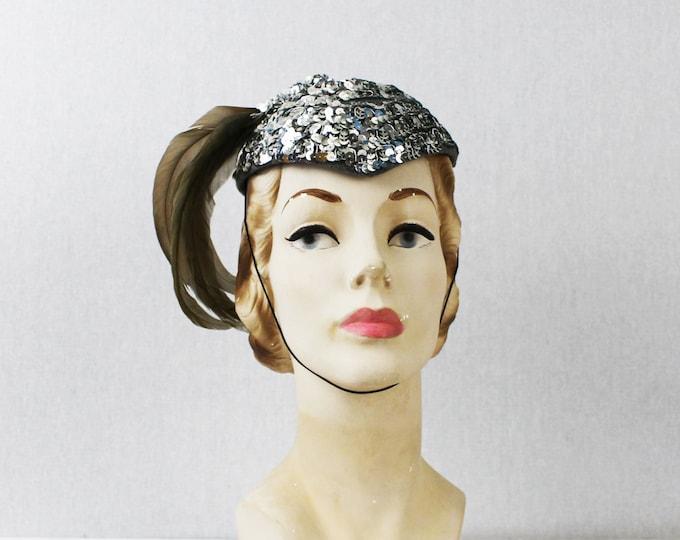 Silver Feather Fascinator Hat - Sequinned Show Girls Hat - Vintage 1960s Embellished Sequin Cocktail Hat