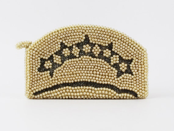 30s Beaded Purse - Ivory and Silver Beaded Clutch… - image 1