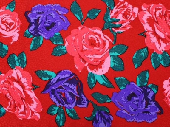 Red Rose Print Scarf - Bill Blass Floral Print Sc… - image 2