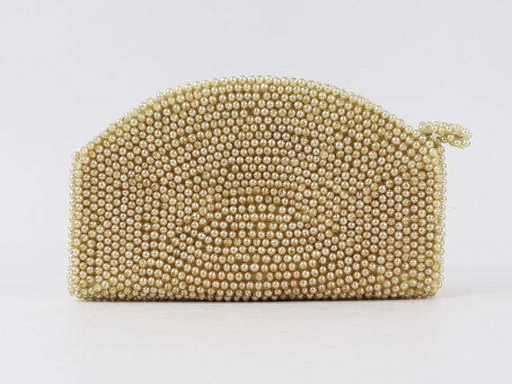 30s Beaded Purse - Ivory and Silver Beaded Clutch… - image 2