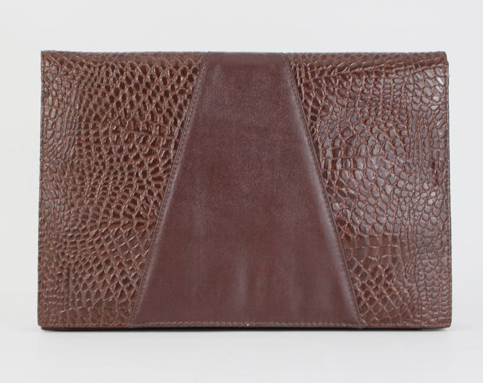 Vintage 1980s Brown Faux Reptile Skin Clutch